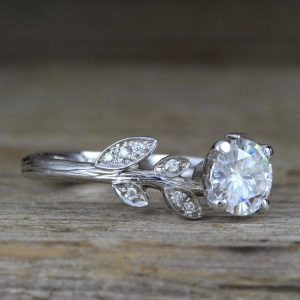 Moissanite Nature Engagement Ring, 14k Solid Gold Nature Inspired Engagement Rings