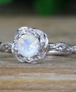 Moonstone Engagement Ring, Rainbow Moonstone Floral Ring