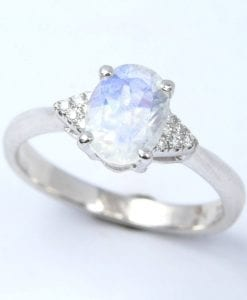Moonstone engagement ring, Rainbow moonstone ring