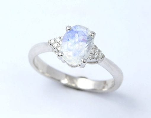 Moonstone engagement ring, Rainbow moonstone ring
