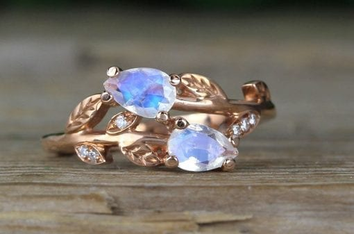 Moonstone Engagement Ring, Rose Gold Vintage Delicate Pear Shaped Cut Moonstone Ring