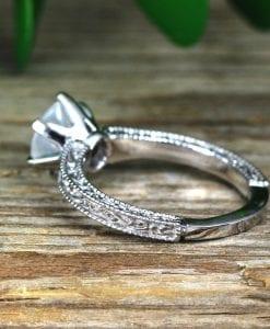 Moonstone Filigree and Milgrain Engagement Ring