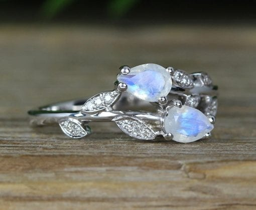 Moonstone Floral Engagement Ring, Leaves Rainbow Moonstone Ring
