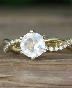 Moonstone Infinity Knot Engagement Ring, Twisted Rope Conflict Free Diamond Engagement Ring