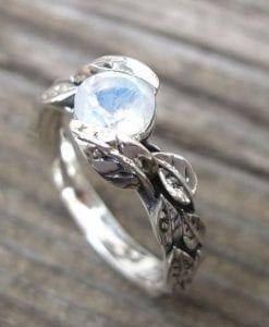 Moonstone Ring, Leaf Moonstone Ring