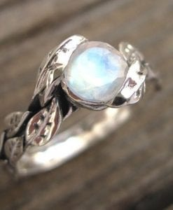 Moonstone Ring, Leaf Moonstone Ring