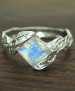Moonstone Ring Moonstone Leaf Ring, Square Cut Moonstone Leaves Engagement Ring