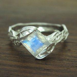 Moonstone Ring Moonstone Leaf Ring, Square Cut Moonstone Leaves Engagement Ring