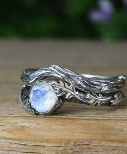 Moonstone Rings Silver Set , Bohemian Ring