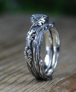 Moonstone Rings Silver Set , Bohemian Ring