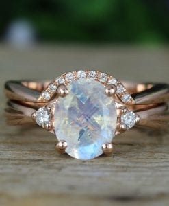 Moonstone Wedding Ring Set, Antique Moonstone Engagement Ring Set