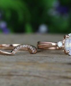Moonstone Wedding Ring Set, Antique Moonstone Engagement Ring Set