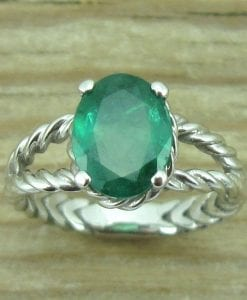 Natural Emerald Engagement Ring, Oval Braided Rope Ring