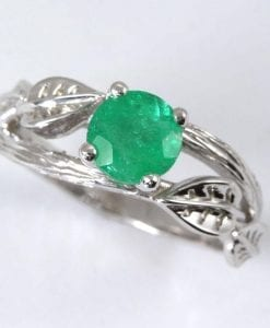 Natural Emerald Leaves Engagement Ring, Twig Promise Ring