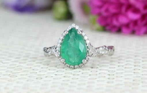 Natural Emerald Leaves Engagement Ring, Vintage Nature Inspired Leaf Anniversary Ring