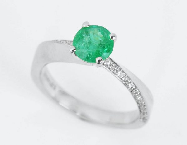 Natural emerald ring, Mobius engagement ring
