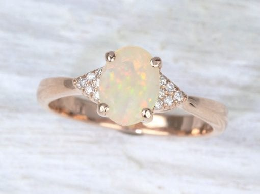 Natural Opal Engagement Ring, Opal Wedding Ring Rose Gold Antique Style Engagement Ring