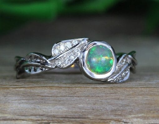 Natural Opal Leaf Opal Engagement Ring, Nature Inspired Antique Vintage Promise Ring