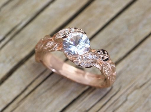 Nature Engagement Ring, White Sapphire Leaves Engagement Ring