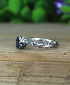 Nature Inspire Sapphire Rings Silver Set , Bohemian Twig Rings