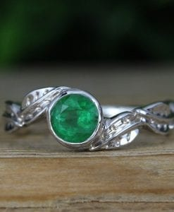 Nature Inspired Emerald Engagement Ring, Leaves Twig Emerald Ring