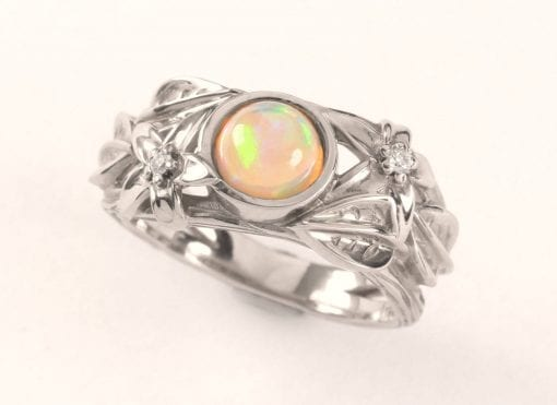 Opal Engagement Ring, Ethiopian fire opal engagement Ring