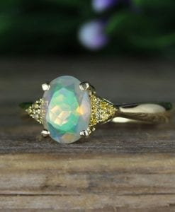 Opal engagement ring, Oval opal vintage promise ring