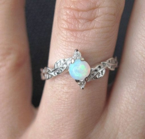 Opal Ring, Leaf Engagement Ring