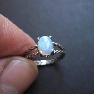 Opal ring sterling silver, Blue opal minimalist ring