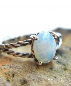 Opal ring sterling silver, Blue opal minimalist ring