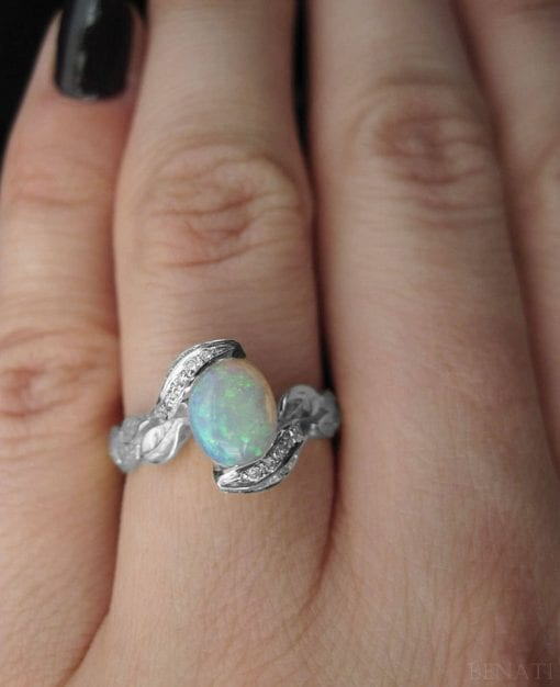 Opal Rose Gold Ring, Opal Leaves Engagement Ring