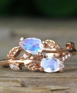 Pear Cut Rainbow Moonstone Nature Inspired Ring, Vintage Moonstone Engagement Ring in Rose Gold
