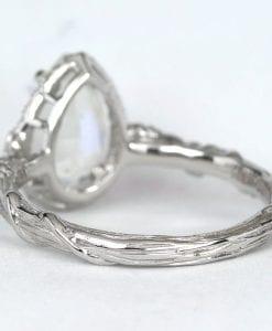 Pear Moonstone Engagement Ring, Rainbow Moonstone Leaves Ring