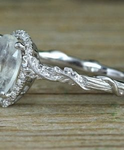 Pear Moonstone Engagement Ring, Rainbow Moonstone Leaves Ring