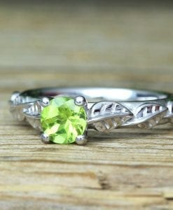 Peridot Leaf Bridal Engagement Ring,  Antique Gemstone Wedding Ring