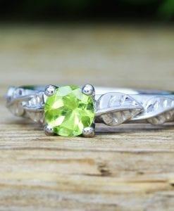 Peridot Leaf Bridal Engagement Ring,  Antique Gemstone Wedding Ring