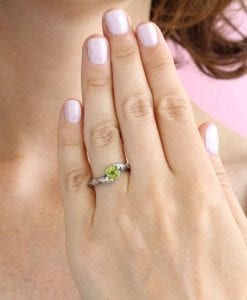 Peridot Leaves Ring, Silver Peridot Leaf Ring