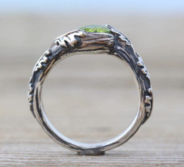 Peridot Leaves Ring, Silver Peridot Leaf Ring