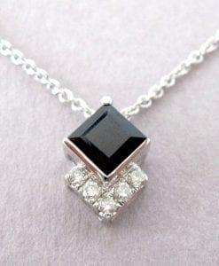 Princess Cut Sapphire Pendant, Pendant Necklace