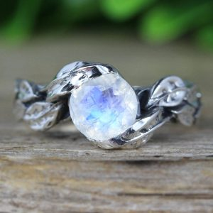 Rainbow Moonstone Leaf Ring, Moon Stone Gemstone Silver Leaves Ring