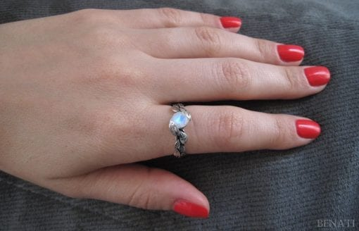 Rainbow Moonstone Leaf Ring, Moon Stone Gemstone Silver Leaves Ring