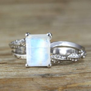 Rainbow Moonstone Leaves Engagement Ring, Moonstone Leaves Ring