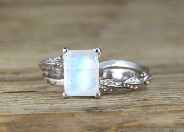 Rainbow Moonstone Leaves Engagement Ring, Moonstone Leaves Ring