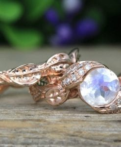 Rainbow Moonstone Ring Set, Leaf Ring With Moonstone