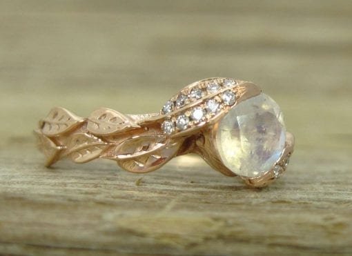 Rainbow Moonstone Ring Set, Leaf Ring With Moonstone