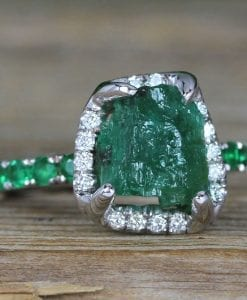 Raw Emerald Big Engagement Ring, Rough Ring