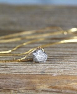 Raw Rough Diamond Necklace, Diamond Pendant