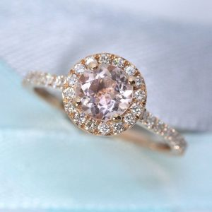 Rose Gold Engagement Ring, Morganite Rose Gold Ring