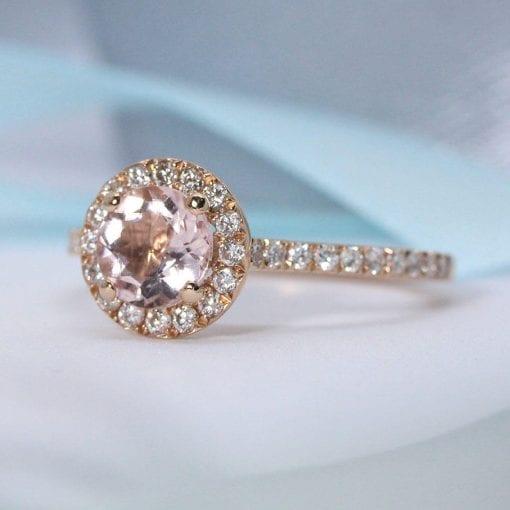 Rose Gold Engagement Ring, Morganite Rose Gold Ring