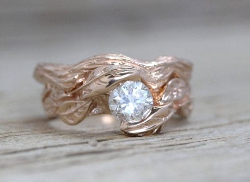 Rose Gold Leaf Bridal Set, Rose Gold Diamond Wedding Set